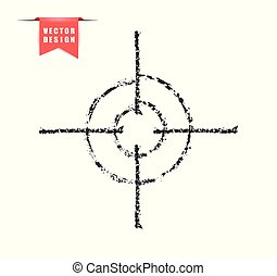 The crosshair effect of charcoal, chalk. Hand drawing with a brush. silhouette, grunge. Target, aim. Vector elements on isolated background.