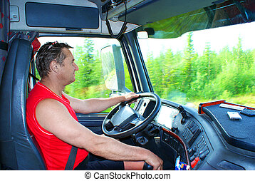 The driver at the wheel of the truck