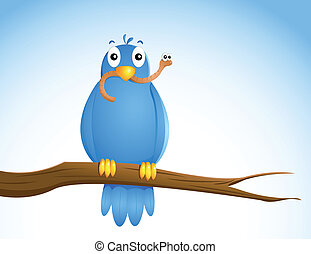 blue bird with a worm in his beak