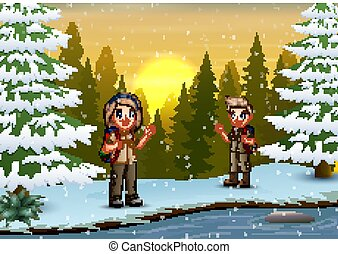 The explorer in the winter landscape