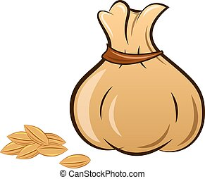the filled sack on a white background
