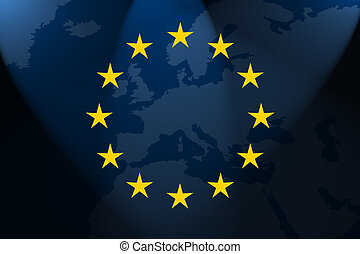 the flag of europe in front of the map