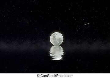 The full moon in the dark night.