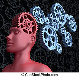 Concept of leadership and control. The main gear is the brain of man.