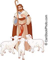 Illustration of Jesus Christ is the good shepherd