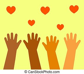 The hands of various people are raised up. Symbol. Vector