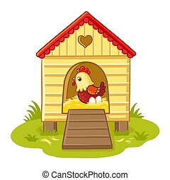 The hen sits in the henhouse and hatches eggs. Vector illustration with cute chicken in a children's style.