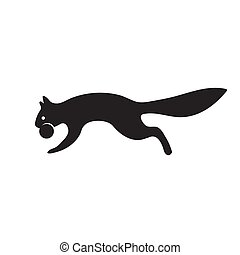 The icon of a squirrel with a nut on a white isolated background. Vector image