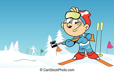 The illustration shows the sports biathlon in cartoon style. Illustration done on separate layers.
