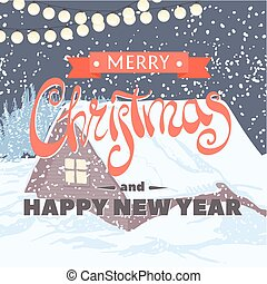 The inscription Merry Christmas and Happy New Year