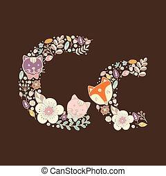 The letter C. Bright floral element