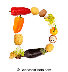 The letter d in various fruits and vegetables