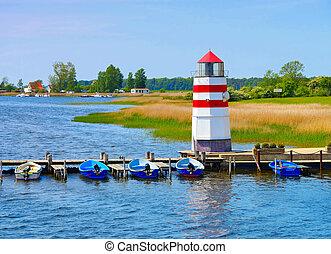 the lighthouse on island Ummanz, Ruegen in Germany