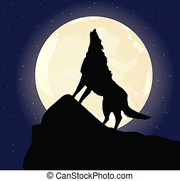 The lonely wolf sits on a rock