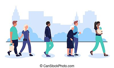 The profile of various multiracial people crowd walking on urban city street flat vector illustration.