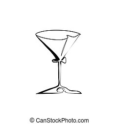 The stylized wine glass for martini vector