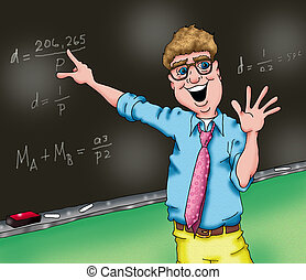 An image of a teacher who really loves his job.