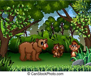 The various animals in the jungle