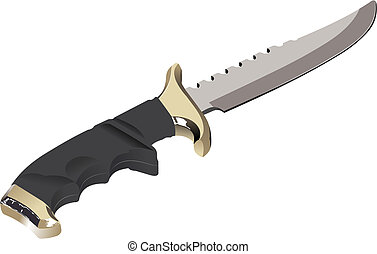 The vector image of a knife on a white background