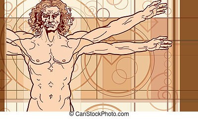 'Homo vitruviano' fragment. So-called The Vitruvian man a.k.a. Leonardo's man. Detailed drawing on the basis of artwork by Leonardo da Vinci, executed him c. 1490 (in 1487 or 1490 or 1492) by ancient manuscript of Roman master Marcus Vitruvius Pollio.