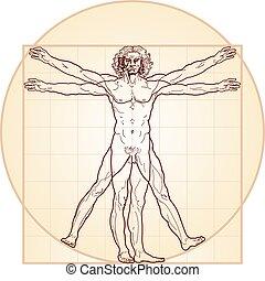 'Homo vitruviano' so-called The Vitruvian man a.k.a. Leonardo's man. Detailed drawing on the basis of artwork by Leonardo da Vinci, executed him c. 1490 (in 1487 or 1490 or 1492) by ancient manuscript of Roman master Marcus Vitruvius Pollio.