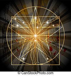 The Vitruvian Man Inscribed In The Medieval Mystic Pentagram (Pentacle)