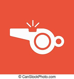 The whistle icon. Referee symbol. Flat Vector illustration