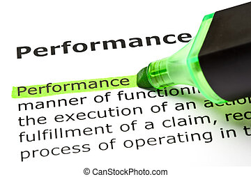 The word 'Performance' highlighted in green with felt tip pen