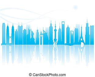 the worldwide landmarks silhouette pattern