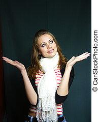 blue-eyed girl in a striped vest