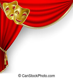 Theater stage with red curtain and masks. Clipping Mask. Mesh.