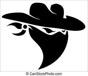 Creative Abstract Conceptual Art Design of Thief Cowboy Mascot Tattoo Vector Illustration