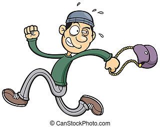 Vector illustration of thief running