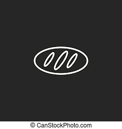 line bread icon on the dark background