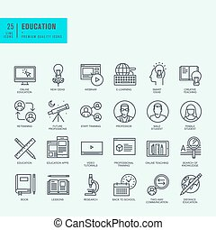 Icons for online education, video tutorials, training courses