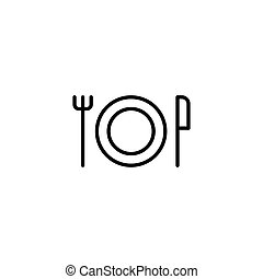 thin line plate, knife and fork, dinner icon