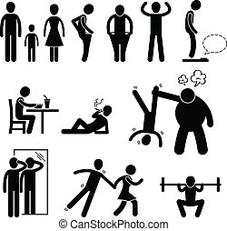 A set of pictogram representing thin and skinny man.