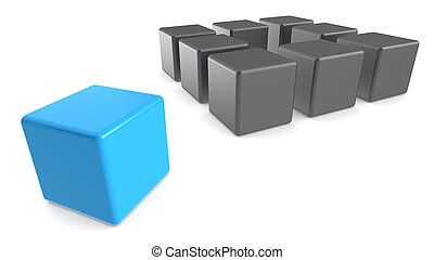 Classic Methaphore illustrated with Cubes. Matte black and blue, Business presentation series.