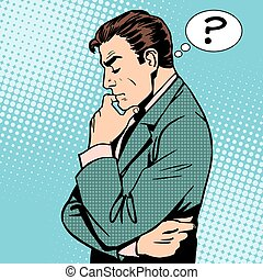 Thinking businessman questions then art retro style
