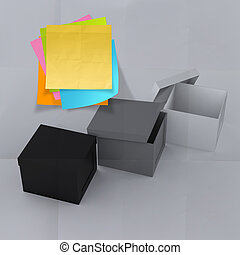 thinking outside the box on crumpled sticky note paper as concept