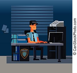 Thinking police officer detective character worker at computer in office police department. Crime investigation concept. Vector flat cartoon illustration