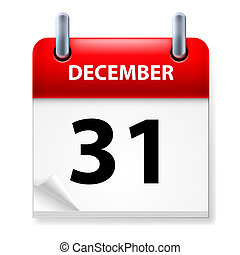 Thirty-first December in Calendar icon on white background