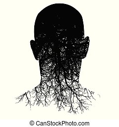 This silhouette of a man?s head morphs into roots