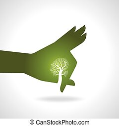 hand with tree
