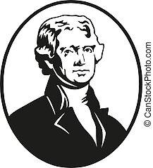 Thomas Jefferson, President of the United States. Vector Illustration.