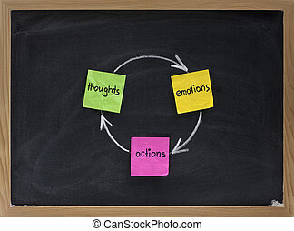 thoughts, emotions, actions cycle presented on blackboard with sticky notes and white chalk