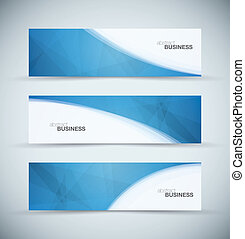 Three abstract blue business header
