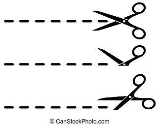 black scissors and cut lines