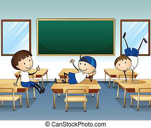 Three boys playing inside the classroom