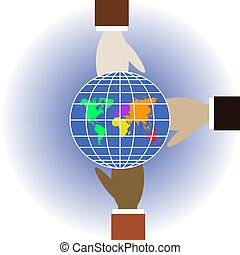 Three different colors human hands hold globe